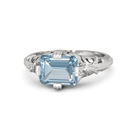 Emerald-Cut Aquamarine Sterling Silver Ring