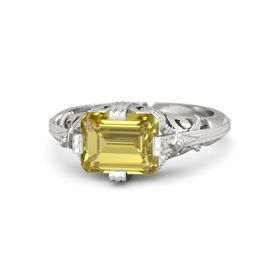 Emerald-Cut Yellow Sapphire Sterling Silver Ring