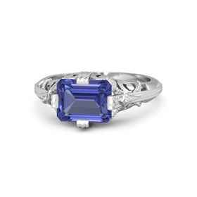 Emerald-Cut Tanzanite Sterling Silver Ring