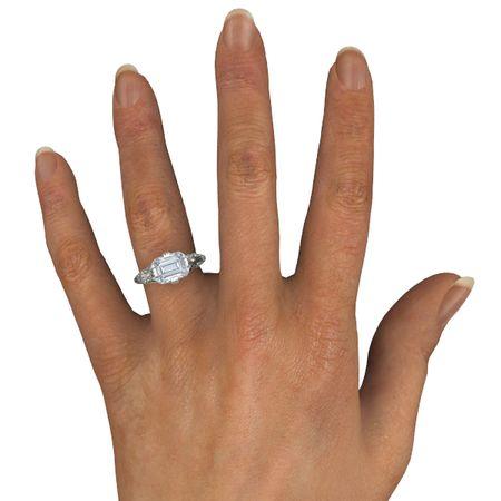 Emerald Diamond 14K White Gold Ring Acadia Ring