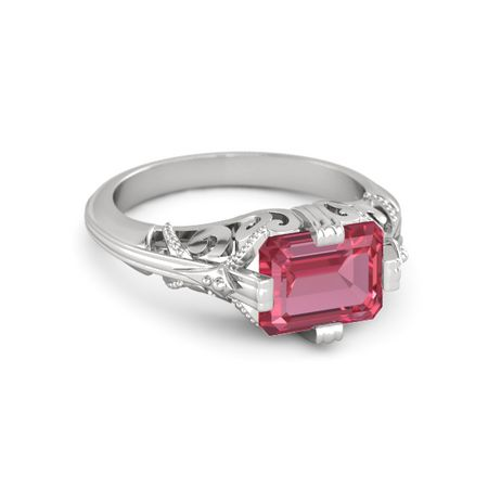 emerald cut pink tourmaline sterling silver ring acadia