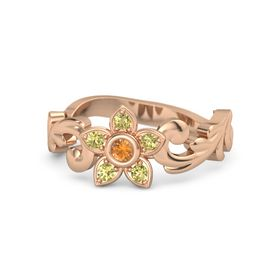 14K Rose Gold Ring with Citrine & Yellow Sapphire