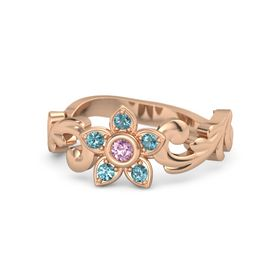 14K Rose Gold Ring with Pink Sapphire & London Blue Topaz