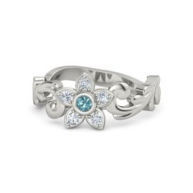 14K White Gold Ring with London Blue Topaz & Diamond
