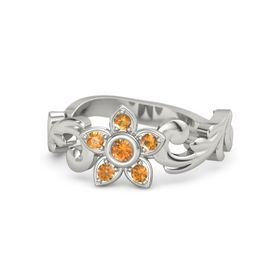 14K White Gold Ring with Citrine