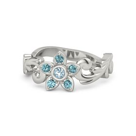 14K White Gold Ring with Aquamarine & London Blue Topaz