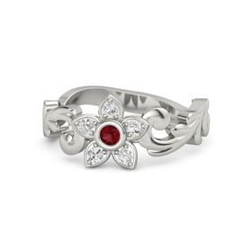 14K White Gold Ring with Ruby and White Sapphire
