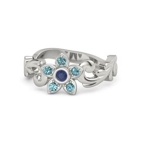 14K White Gold Ring with Blue Sapphire and London Blue Topaz