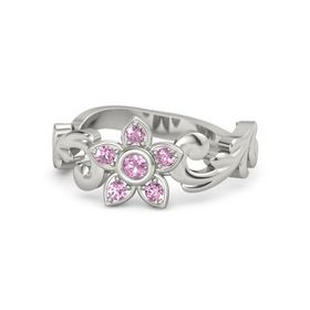 14K White Gold Ring with Pink Tourmaline & Pink Sapphire