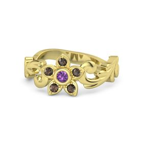 14K Yellow Gold Ring with Amethyst and Smoky Quartz