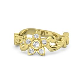 14K Yellow Gold Ring with Rock Crystal & White Sapphire