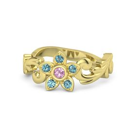 14K Yellow Gold Ring with Pink Tourmaline and London Blue Topaz