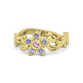14K Yellow Gold Ring with Pink Tourmaline & Iolite