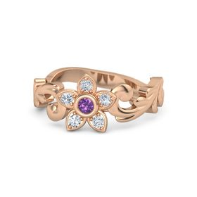 18K Rose Gold Ring with Amethyst & Diamond