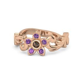18K Rose Gold Ring with Smoky Quartz and Amethyst
