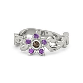 18K White Gold Ring with Smoky Quartz and Amethyst