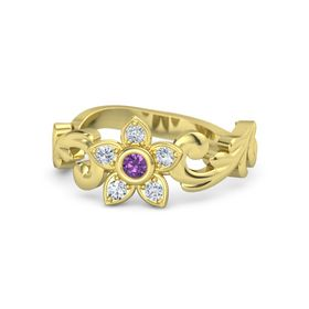 18K Yellow Gold Ring with Amethyst and Diamond