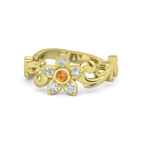 18K Yellow Gold Ring with Citrine & Diamond