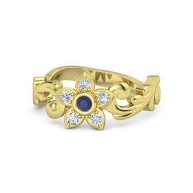 18K Yellow Gold Ring with Sapphire & Diamond