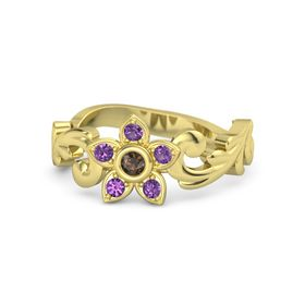 18K Yellow Gold Ring with Smoky Quartz and Amethyst