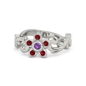 Platinum Ring with Amethyst and Ruby