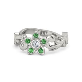 Platinum Ring with Diamond and Emerald