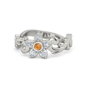 Platinum Ring with Citrine & Diamond