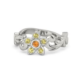 Platinum Ring with Citrine & Yellow Sapphire
