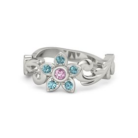 Platinum Ring with Pink Sapphire & London Blue Topaz