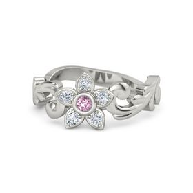 Platinum Ring with Pink Sapphire and Diamond