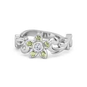 Sterling Silver Ring with Diamond & Peridot