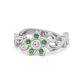 Sterling Silver Ring with White Sapphire & Emerald