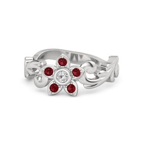 Sterling Silver Ring with White Sapphire & Ruby