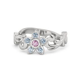 Sterling Silver Ring with Pink Sapphire & Blue Topaz