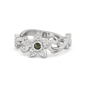 Sterling Silver Ring with Green Tourmaline and White Sapphire