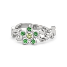 Sterling Silver Ring with Peridot & Emerald
