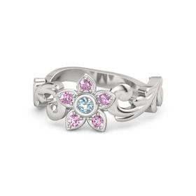 Sterling Silver Ring with Aquamarine & Pink Sapphire