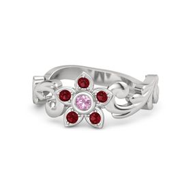Sterling Silver Ring with Pink Tourmaline & Ruby