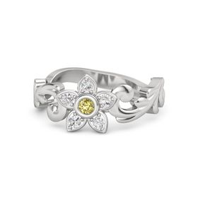Sterling Silver Ring with Yellow Sapphire & White Sapphire