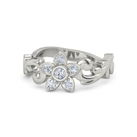 14K White Gold Ring with Diamond | Jasmine Ring | Gemvara