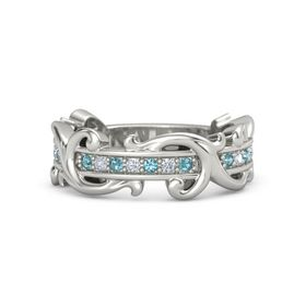 14K White Gold Ring with London Blue Topaz and Diamond