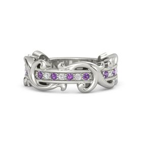 14K White Gold Ring with Amethyst and White Sapphire
