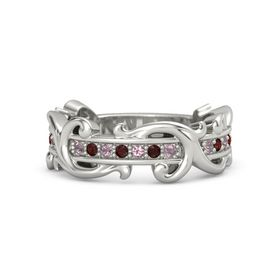 14K White Gold Ring with Rhodolite Garnet and Red Garnet