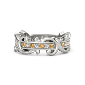 14K White Gold Ring with Citrine and White Sapphire