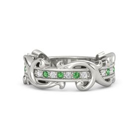 14K White Gold Ring with White Sapphire and Emerald