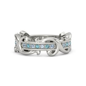 14K White Gold Ring with Blue Topaz and London Blue Topaz
