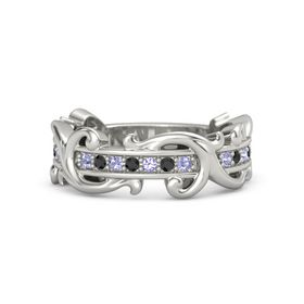 14K White Gold Ring with Tanzanite and Black Diamond