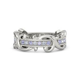 14K White Gold Ring with Tanzanite and Diamond