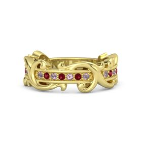 14K Yellow Gold Ring with Rhodolite Garnet and Ruby