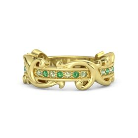 14K Yellow Gold Ring with Peridot and Emerald
